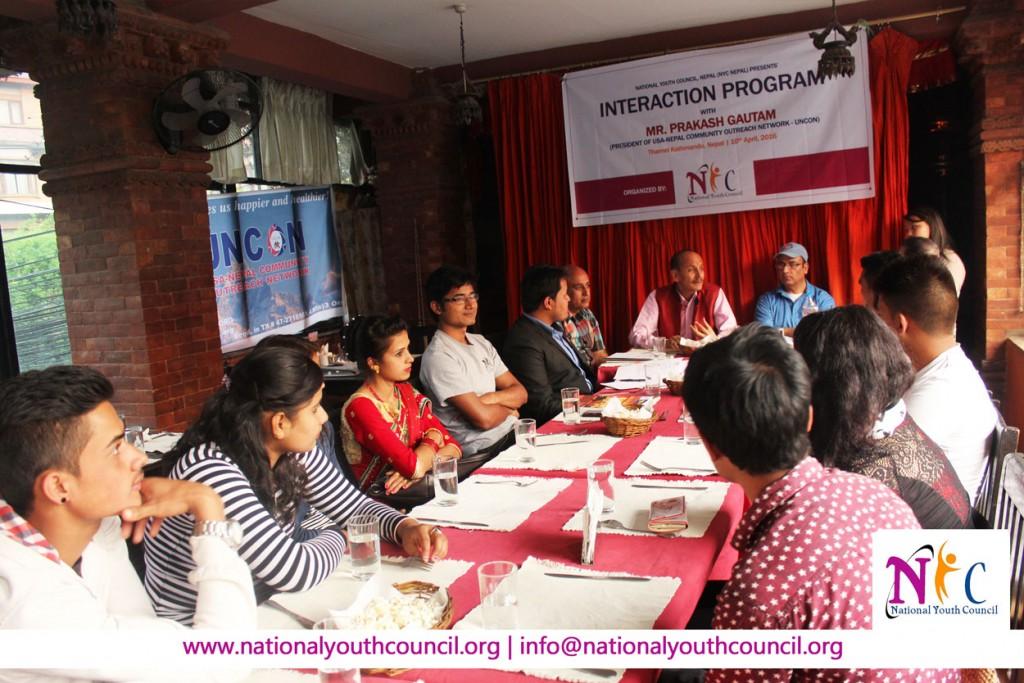 Interaction Program with UNCON President (Mr. Prakash Gautam)